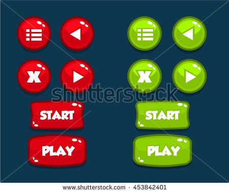 Mobile Game User Interface Buttons Assets Cartoon - stock vector