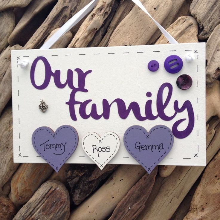 Personalised Plaque Sign Our Family Handmade Hearts for Names