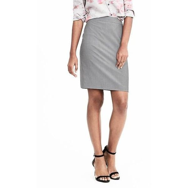 Banana Republic Womens High Waisted Lightweight Wool Pencil Skirt ($48) ❤ liked on Polyvore featuring skirts, gray sky, petite, gray pencil skirt, high waisted pencil skirt, banana republic skirts, knee length pencil skirt and high-waisted skirts