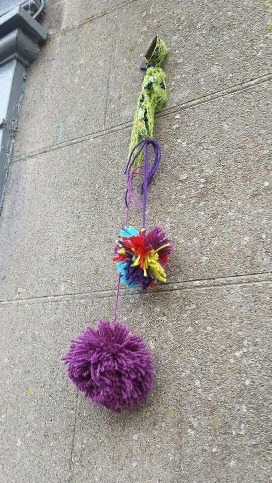 Yarn bombing on Connaught Street in Birr