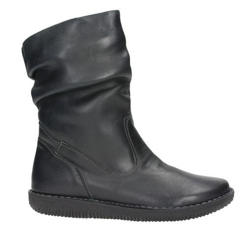 BOTIN MUJER NEGRO PLANO ARRUGADO PIEL CHACAL 4009 - Mis Zapatos