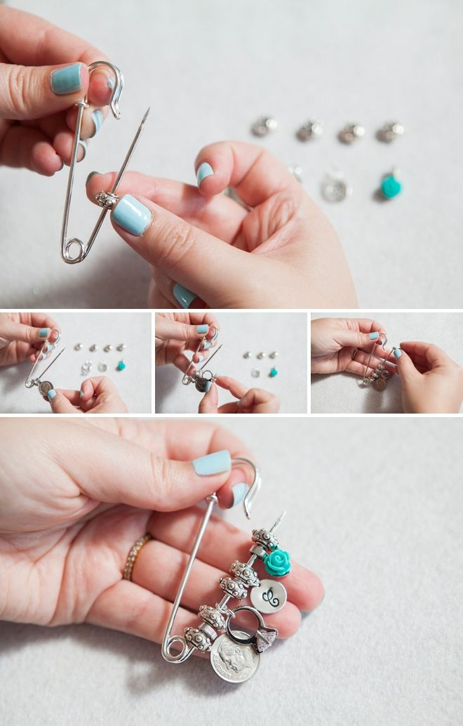 "DIY Wedding // Make an ""old new borrowed blue dress pin"" with special trinkets!"