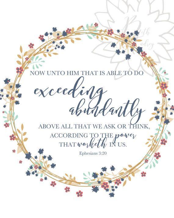 Ephesians 3:20 Scripture Wall Art / Printable by BethAudreyDesign
