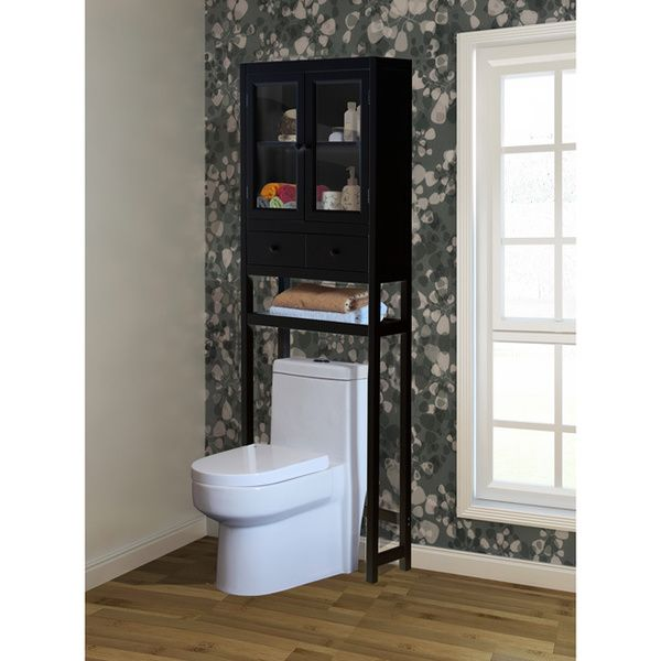 this chic space saving cabinet is designed to fit in small or crowded bathrooms with its sleek over the toilet design finished in brown this contemporary