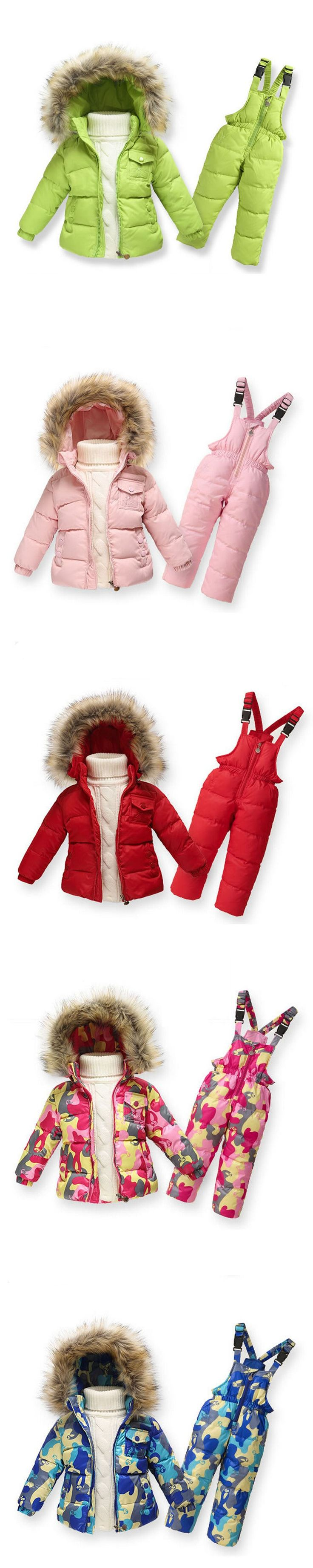 Children Winter Clothing set 2016 Fashion Boys Ski Suit Girl Down Jacket Coat + Jumpsuit Set Kids Clothes For Baby Boy Girl Suit