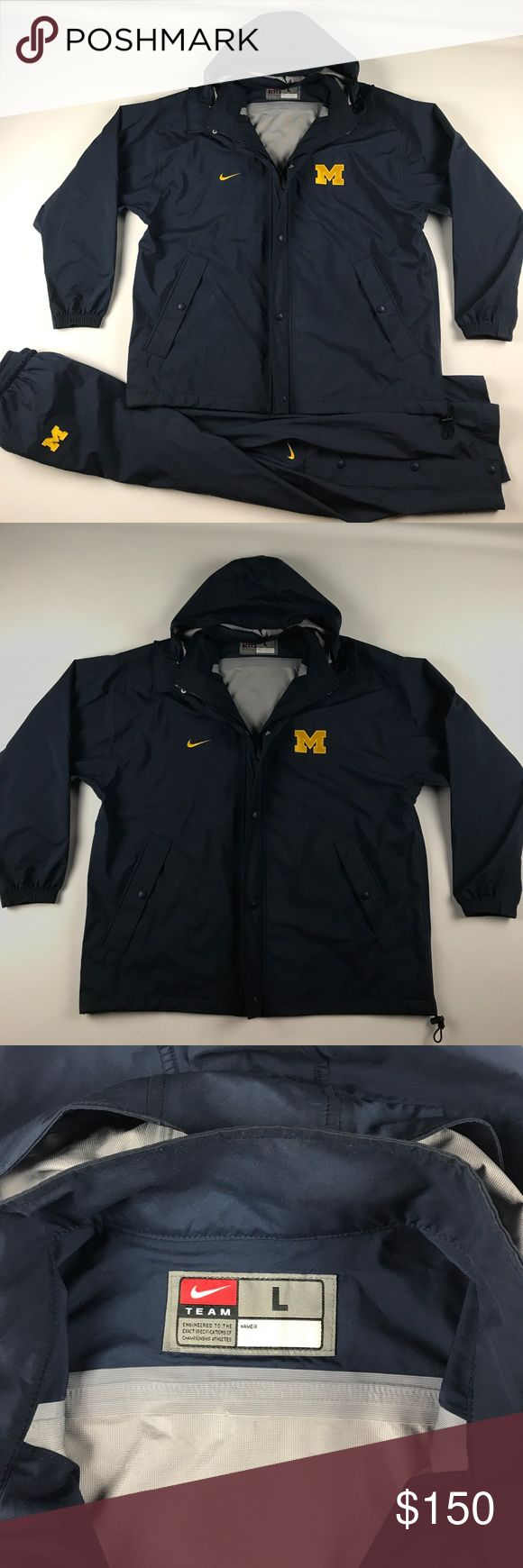 Nike Large 2 Piece Michigan Wolverines Rain Suit Small mark by the front jacket pocket Nike Jackets & Coats Raincoats