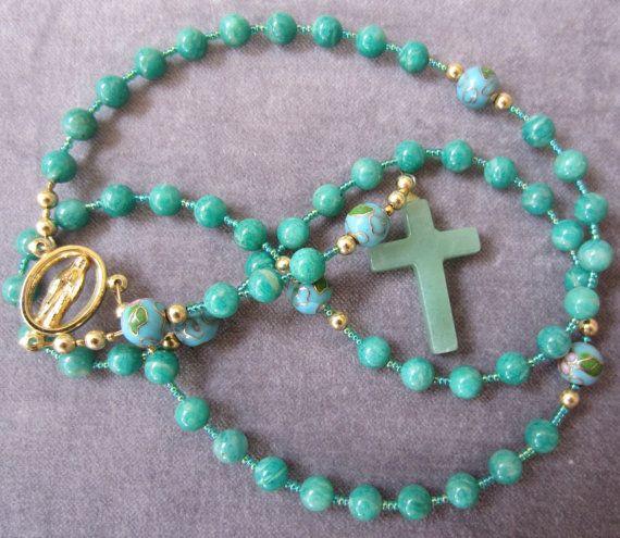 Russian Amazonite Prayer Beads Adventurine Crystal Cross Mother Mary Center Beaded Cross Necklace 59 SemiPrecious Gemstone Devotional Rosary