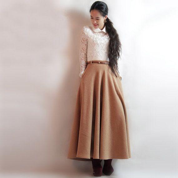 woman's maxi skirt camel long skirt Aline skirt Pleated by TQCALL, $62.00