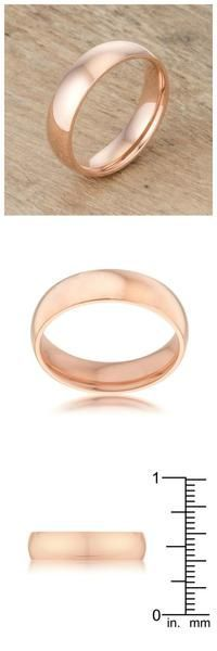 Rose Gold Stainless Steel Band Engagement Ring. Click to check it out.