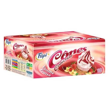 Cônes vanille / fraise x 16