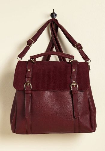 Stop, Rock, and Roll Convertible Bag in Burgundy - Red, Work, Casual, Vintage Inspired, Scholastic/Collegiate, Fall, Better