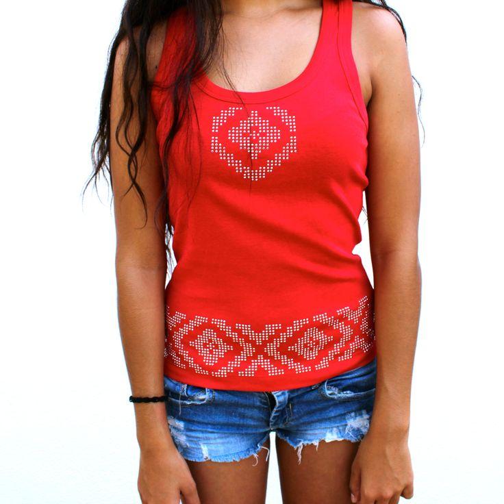 rhinestud ethnic design t-shirt by fashionstrass.
