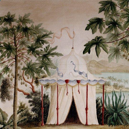 Camping Tents - Ananbô wallpaper: Paysages colorés - Les rives de lIrrawaddy 445x220 ultra mat.