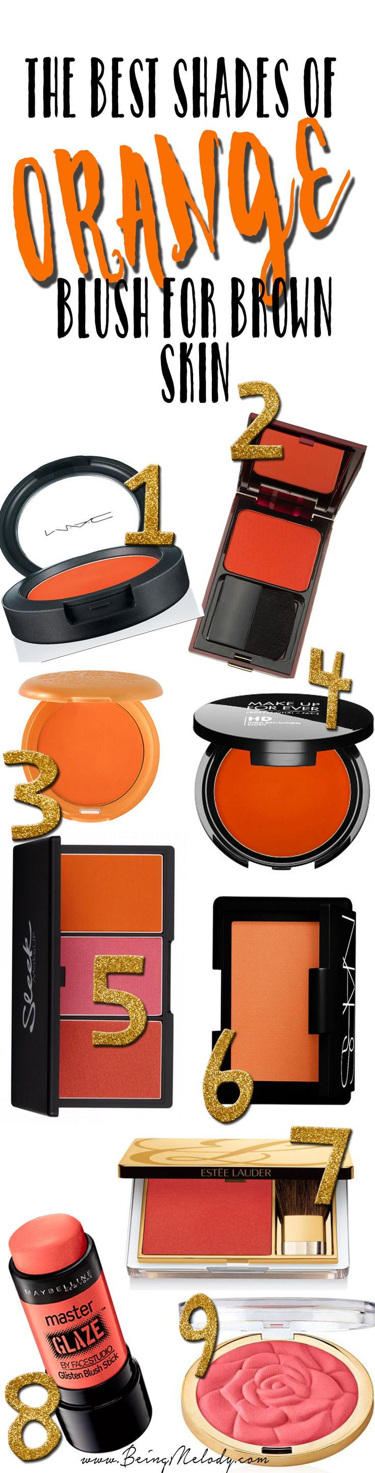 The Best Shades of Orange Blush for Brown Skin, olive skin, and women of color in general.