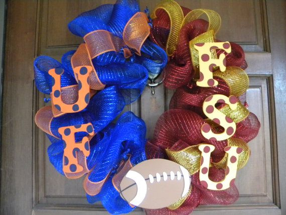 Hey, I found this really awesome Etsy listing at http://www.etsy.com/listing/128423984/fsu-uf-house-divided-deco-mesh-wreath