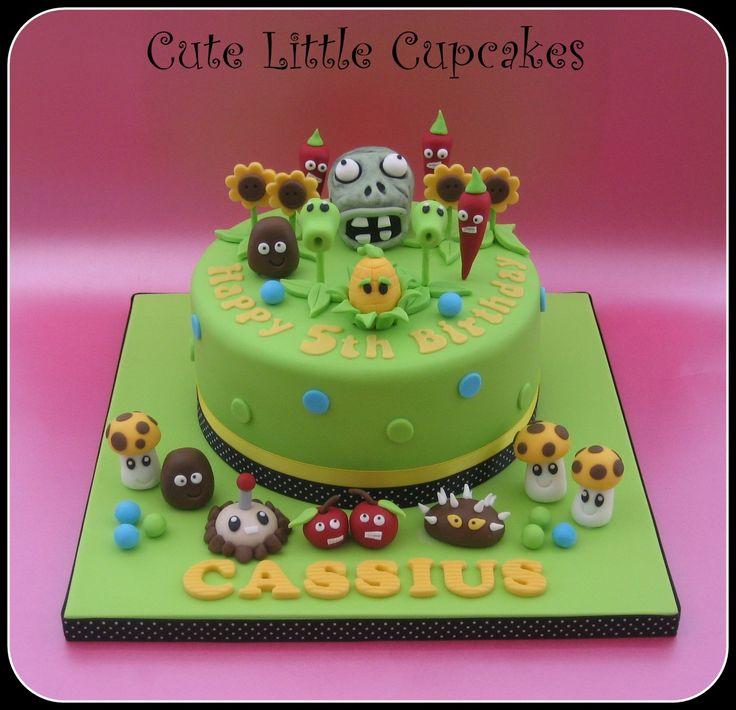 Plants vs Zombies themed birthday cake x
