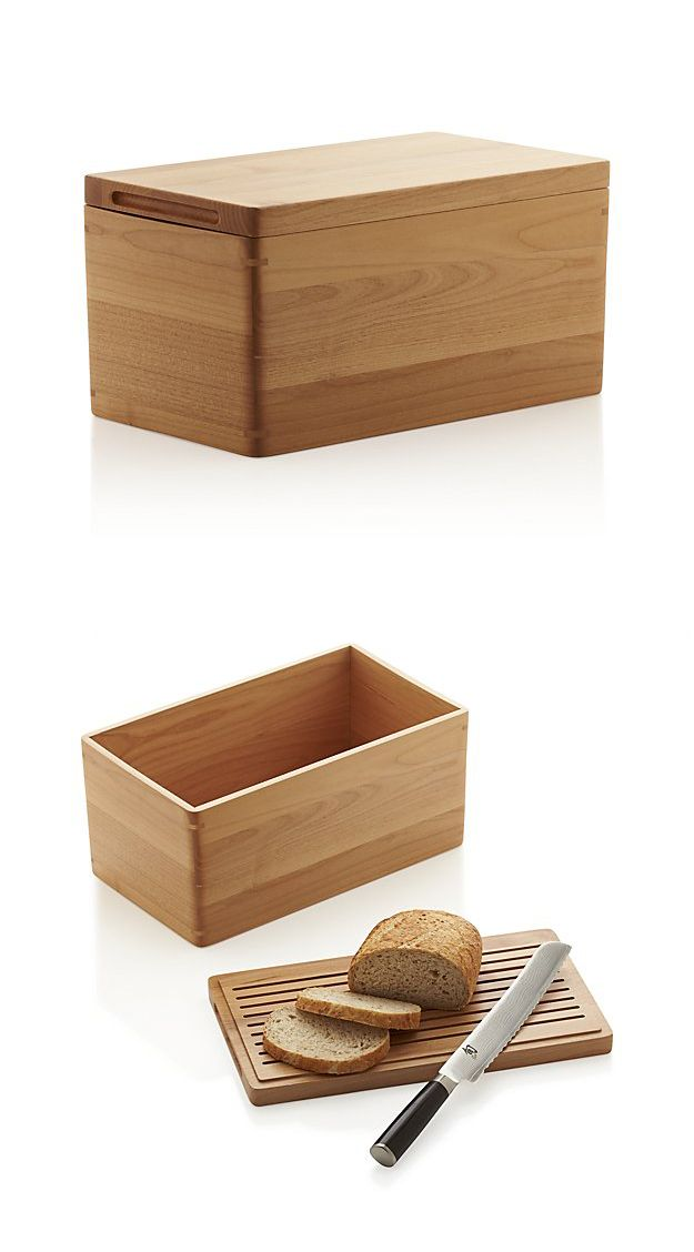 A wooden bread box where the lid doubles as a cutting board. Smart *and* beautiful.                                                                                                                                                      More