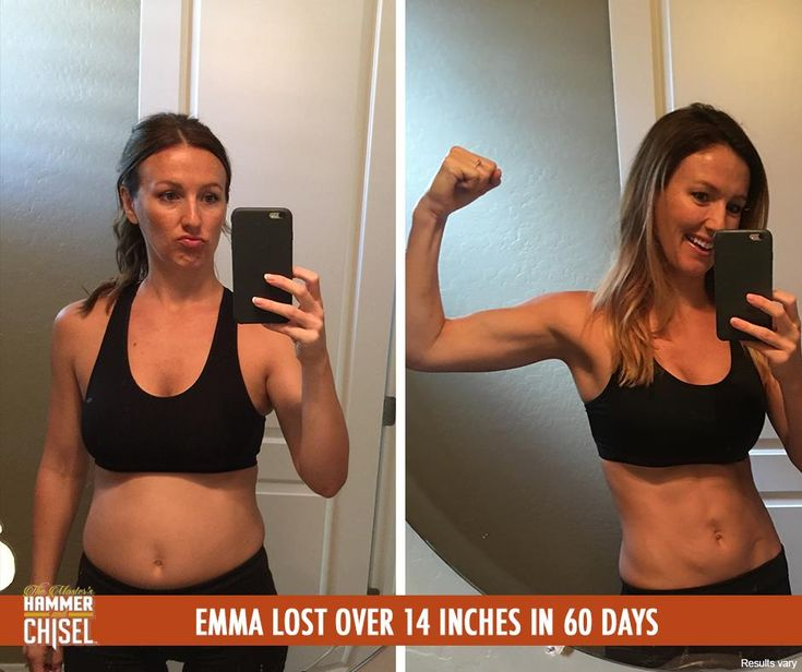 """Emma participated in our test group for The Master's Hammer and Chisel and had great results! In 60 days, she lost over 14 inches! Her advice for starting this hardcore program? """"This program is going to challenge you in a way you've never been challenged before. You CAN do this but you need to follow the program all the way. This isn't a half-ass workout. Be prepared to LEARN, to be CHALLENGED, and to see crazy results!"""" She definitely had some crazy results - way to go, Emma!"""