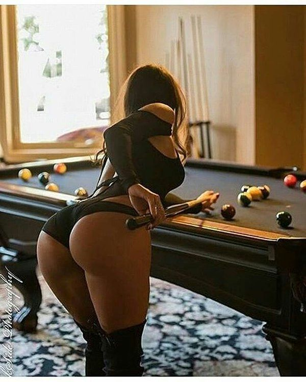 hot pantyhose ass on snooker table