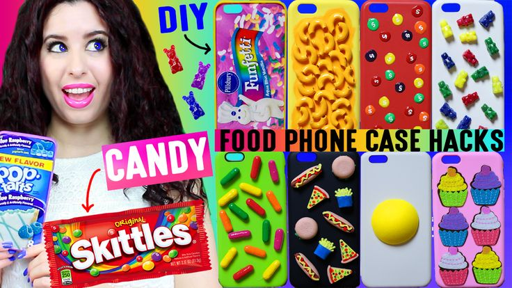 10 DIY Candy, Snack & Food Phone Case Hacks, Ideas | How To Decorate iPhone Cases w/ Skittles, Gummy Bears, Mac-N-Cheese! Link to watch is here: https://youtu.be/DMCIeWUusC4