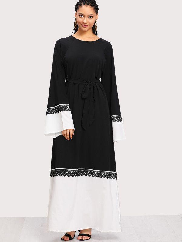 prix incroyables marque célèbre nouveau sommet Contrast Crochet Lace Two Tone Long Hijab Dress -SheIn ...