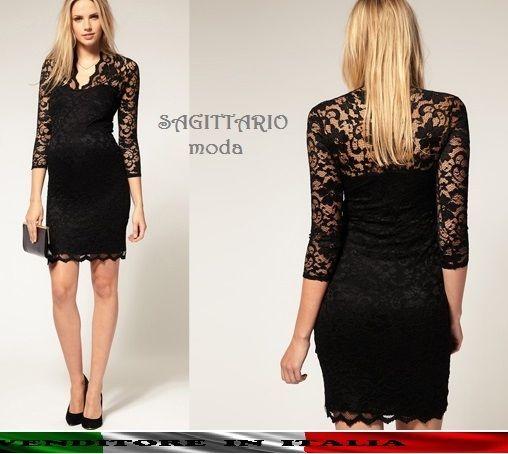 a6eddde0affd Mini abito PIZZO scollato sexy ELEGANTE vestito QUALITA dress nero corto  sera