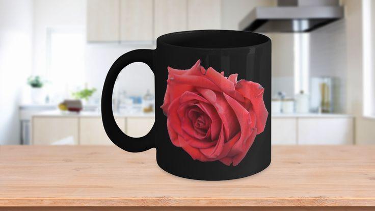 Rose Mug - Red Rose Coffee Mug  Beautiful Red Rose Image on Black Coffee Mug - The Red Rose Mug - Rose Printed on both sides.