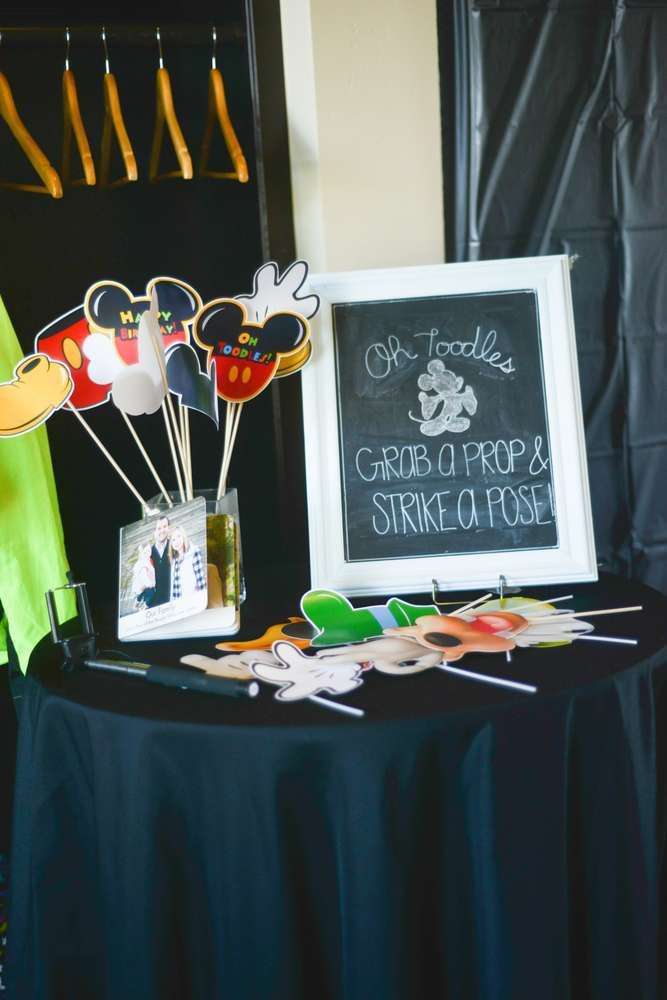 The photo props at this Mickey 1st Birthday Party are such fun! See more party ideas and share yours at CatchMyParty.com
