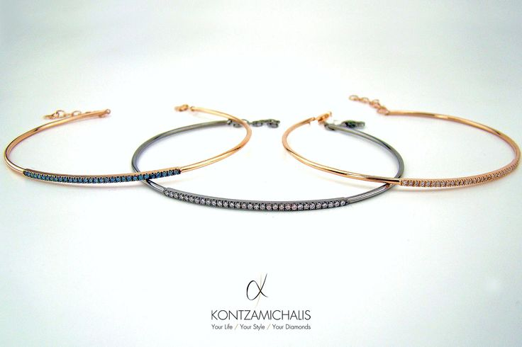 More bangles for even more combinations! You can create your own unique piece from a wide variety of stones; brown, blue, white or black diamonds. All at your disposal! #KontzamichalisJewellery