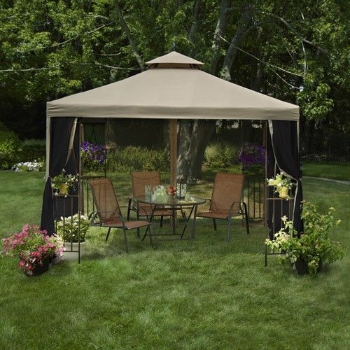 Garden Treasures Patio Umbrella In Addition Grill Canopy Backyard BBQ