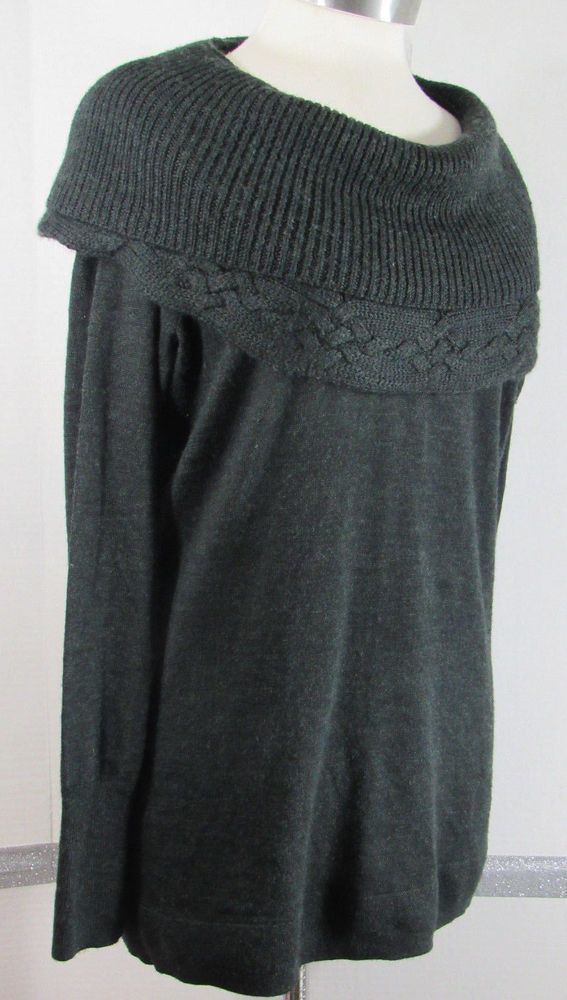 62d96ab550 Tahari Cowl Neck Sweater Large Charcoal Gray Wool Blend Cable Knit Trim  GRUC  Tahari  CowlNeck  Casual