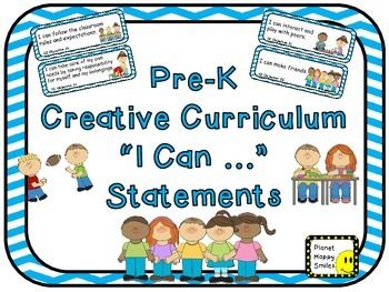 "There are 64 ""I can ..."" statements based on ""Creative Curriculum""Headers to match each area plus a ""We are workingon these skills:"" header1 page of matching blank cards for you to add any extra"