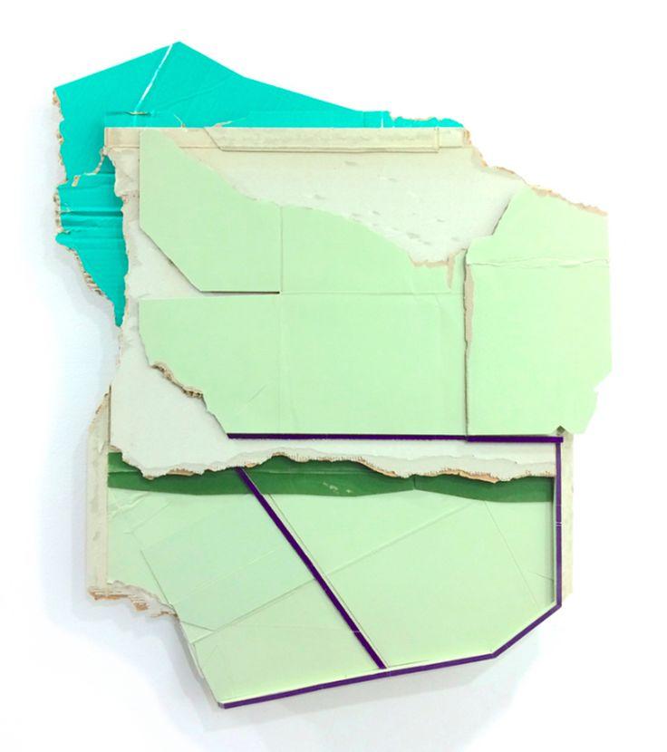 "Ryan Sarah Murphy, ""Mainline,"" 2015, fond unpainted cardboard and foam, 31 x 25.5 x 2.5 in"