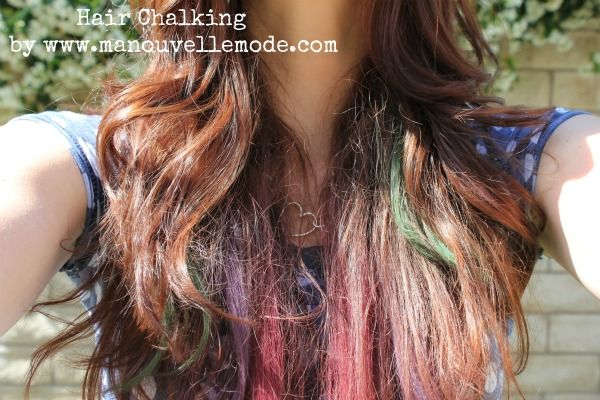 Hair Chalking Dark Hair- might try this for DragonCon