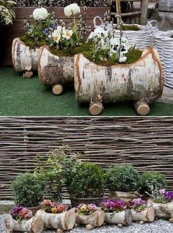 Pieces Of Wood Branches Transforming Into Stunning Diy Decoration For The Garden My Desired Home Hinterhof Garten Pflanzkubel Gartendekoration
