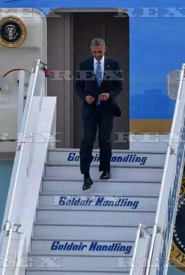 President Barack Obama visit to Greece - 15 Nov 2016 US President Barack Obama descends the steps of Air Force One at the Eleftherios Venizelos Airport 15 Nov 2016
