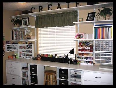 This would work really well in our craft/office space!  Love the clean shelving (a place for everything, everything is its place).