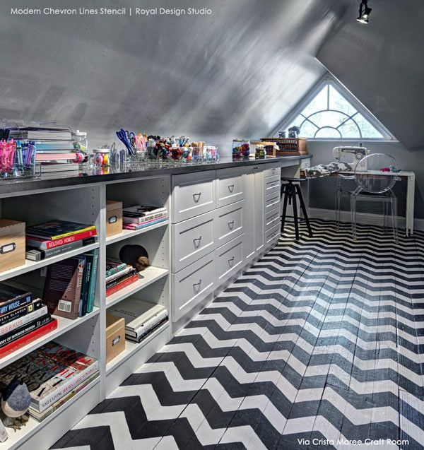 Large Modern Chevron Allover Stencil by Royal Design Studio