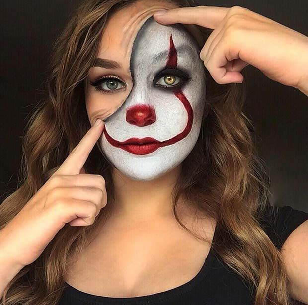 Es Clown Makeup Idee für Halloween #halloween