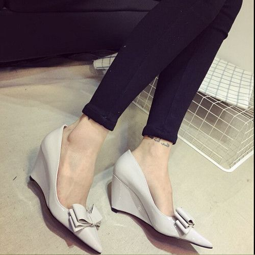 Марка острым обувь лакированная кожа клинья обувь женщины удобные туфли на высоком каблуке для лето # 1809 купить на AliExpress