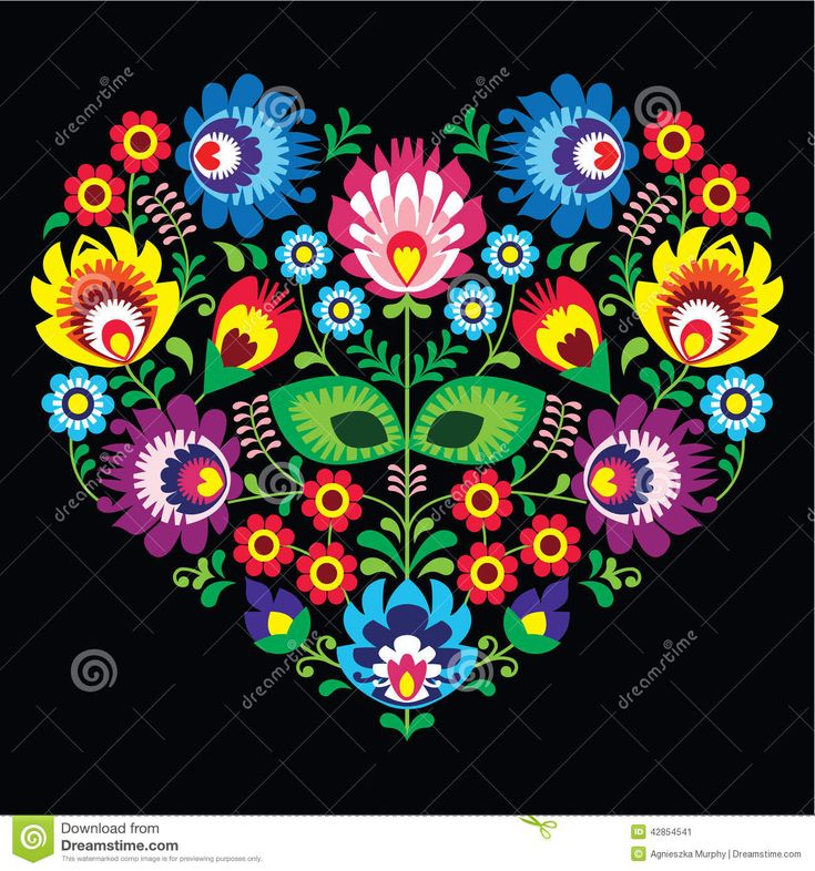 Polish, Slavic folk art art heart with flowers on black - wzory lowickie, wycinanka