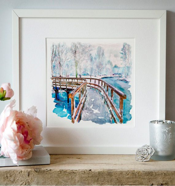 Park view Watercolor painting Wall art Snow by Artsyndrome on Etsy