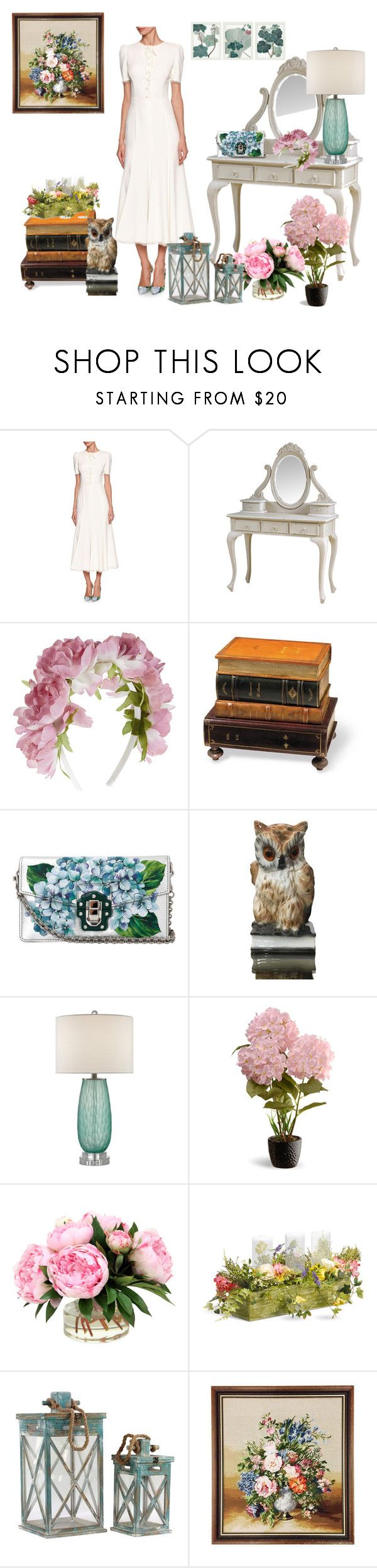 """""""60 secondi of stile"""" by mariapiaflaccomio ❤ liked on Polyvore featuring Dolce&Gabbana, Monsoon, Bunn, Currey & Company, National Tree Company and Pottery Barn"""