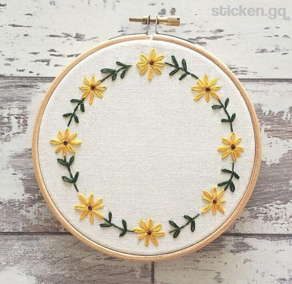 """Weihnachten benutzerdefinierte Stickrahmen 5 """"personalisierte Stickerei Wandkunst – Blume Stickerei Hoop Kunst – Stickerei Blumen – Sonnenblume Sticken"""