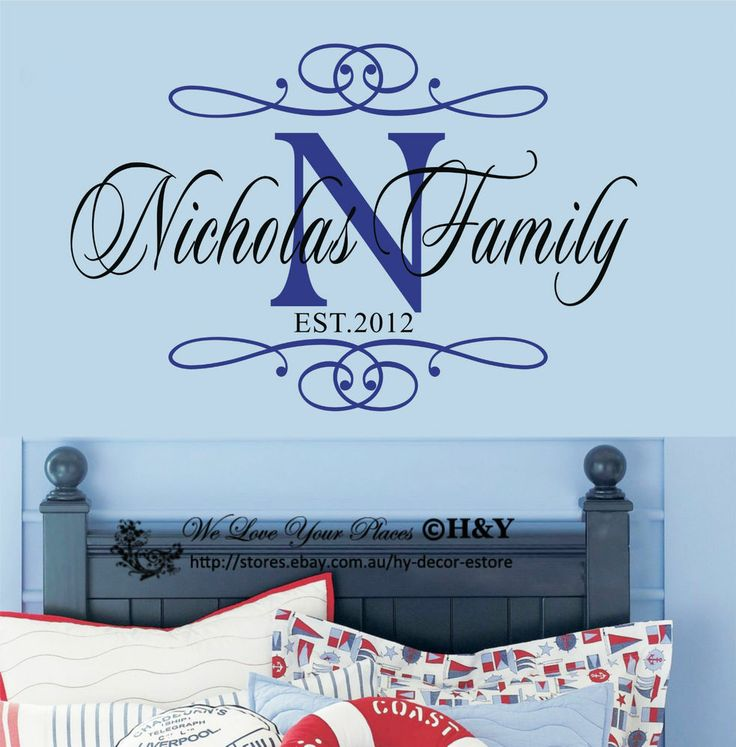 Custom Personalized Family Name Wall Stickers Vinyl Wall Decals Art Mural Home