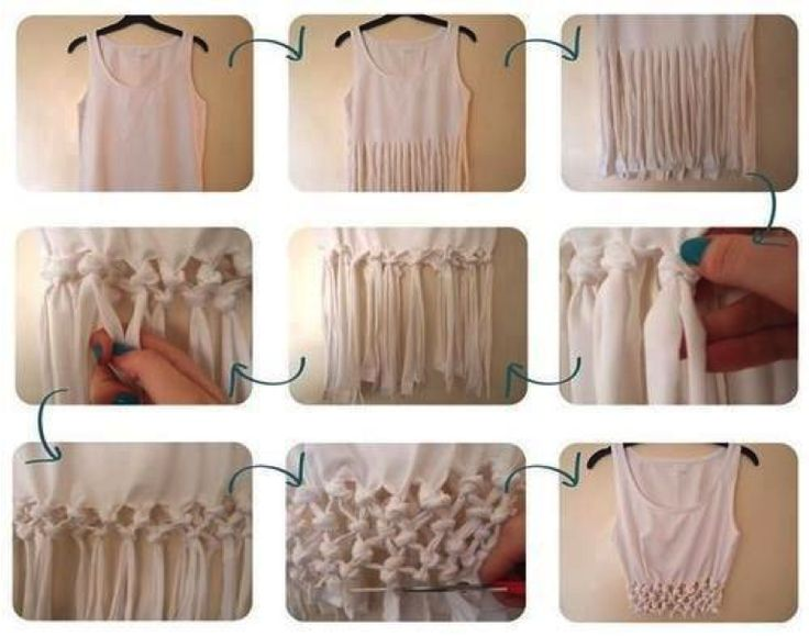 de una camisa simple a una muy hermosa blusa con un tejido de nudos abajo