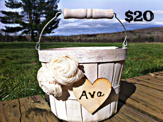 Something like this could work!    Rustic/shabby Chic Flower Girl Basket