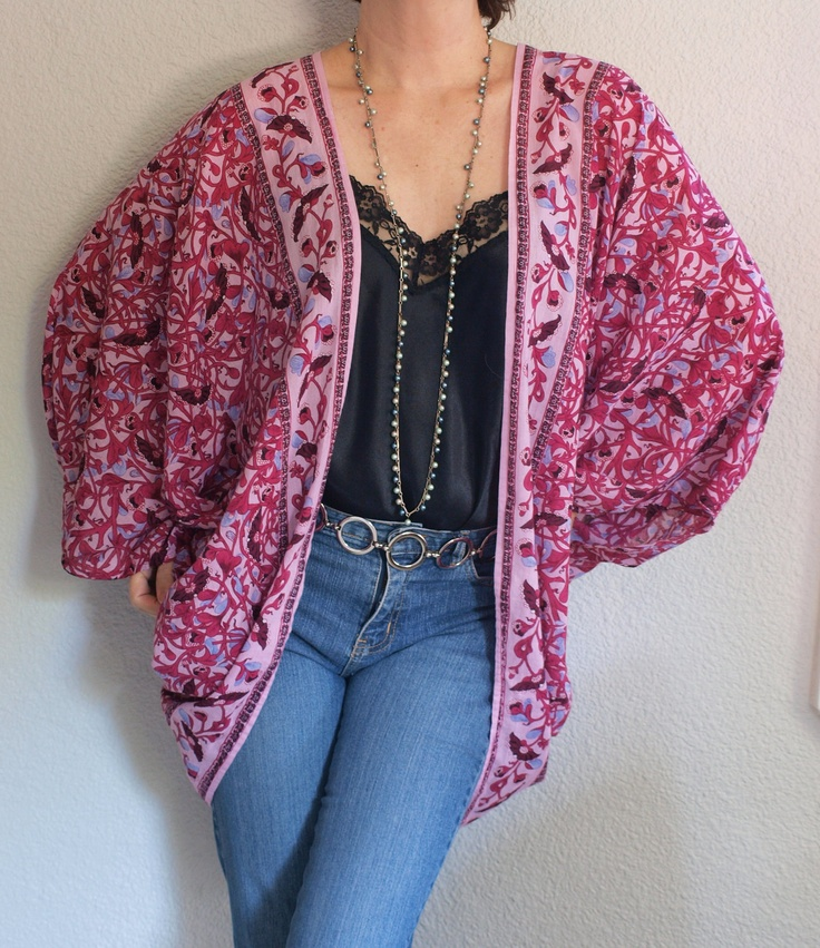 bohemian hippies | Upcycled Vintage Fabric Bohemian Hippie Gypsy Batwing Cotton Shrug L ...