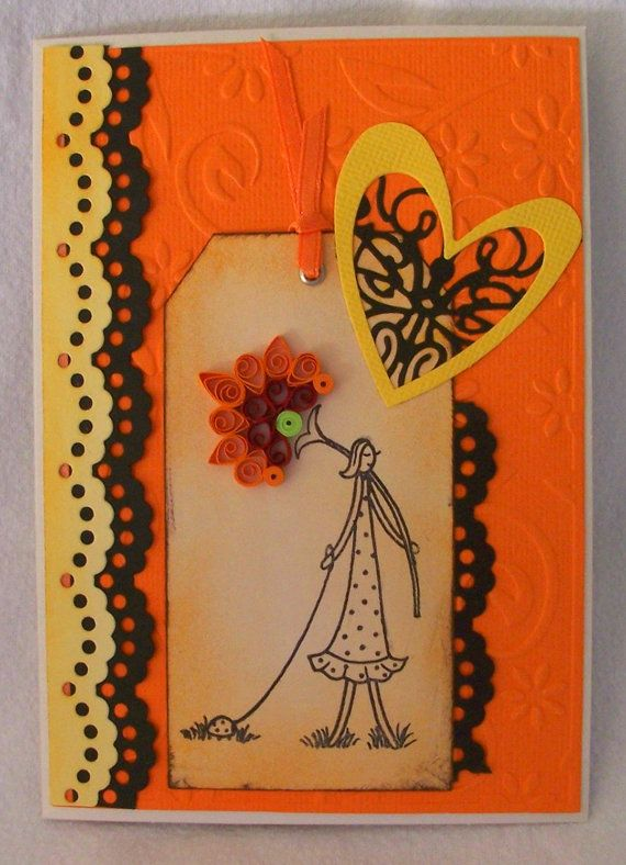 Girl with ladybug quilled card.  Fun vibrant blank by KayaDoll