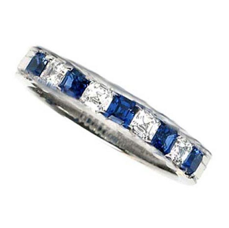 sapphire wedding anniversary invitations%0A Asscher Cut Anniversary Sapphire  u     Diamond band